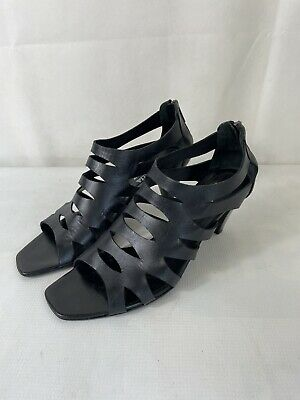 £4.99 • Buy RUSSELL BROMLEY AQUATALIA Ladies Black Leather Caged Open Toe Sandals Size 7.5