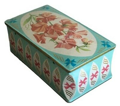 Vintage WESTON Biscuits Blue Tin 1955 Sweet Pea Design Hinged Lid Original Label • 9.50£