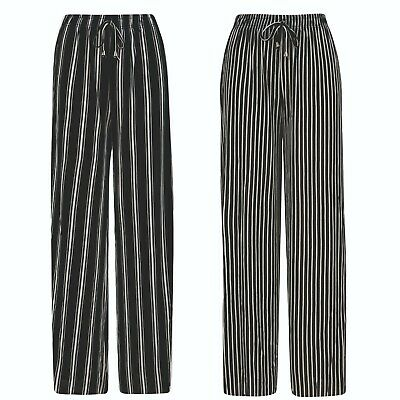 £7.95 • Buy Ladies Womens Trousers Palazzo Wide Leg Summer Loose Fit Black White Stripe NEW