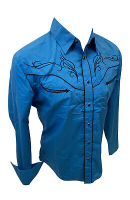 $34.99 • Buy Men RODEO WESTERN TEAL BLACK STITCH Long Sleeve Woven SNAP UP Shirt Cowboy 524