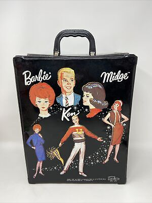 $ CDN48.36 • Buy Vintage 1964 SPP Barbie Ken MIDGE BLACK Vinyl DOUBLE DOLL CASE