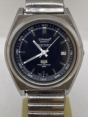$ CDN1.20 • Buy Seiko Cyrano 5 Quartz Men's Black Dial Stainless Steel Silver-Tone Watch Rare
