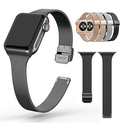 $ CDN9.08 • Buy For Apple Watch Slim Milanese Band Stainless Steel IWatch Strap Series 5/4/3/2/1