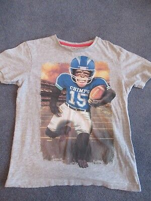Kids T-Shirt, Blue Zoo, Grey With Picture Of Chimp In US Football Kit, 9-10 Yrs  • 1.99£