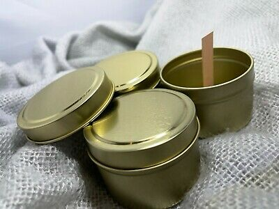 £24.95 • Buy Crackling Wood Wick Scented Candle Making Kit - Gold Reusable Tins  Eco Soy Wax