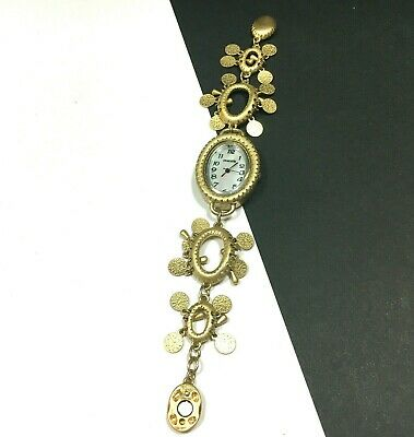 $ CDN29.87 • Buy CHICO'S Gold Bracelet Style WATCH Charms Dangles Magnetic Clasp Oval Face QQ56