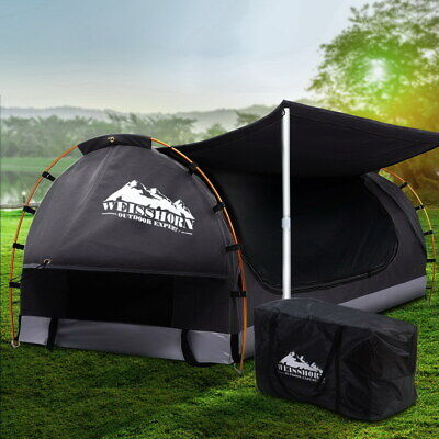 AU200.90 • Buy Weisshorn Double Swag Camping Swags Canvas Free Standing Dome Tent Dark Grey