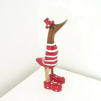 £9.50 • Buy Wooden Duck Garden Ornament Welly Red Wellington Boots Approx 25cm / 10