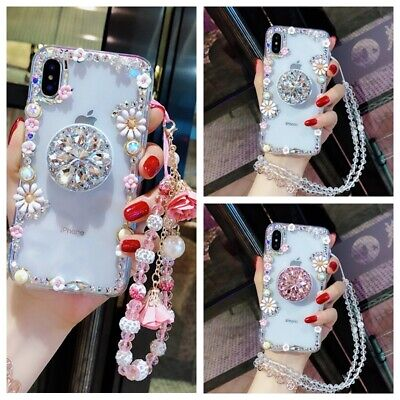 AU16.99 • Buy For IPhone 12 11 Pro X Max XR 7 8 Girls Women Diamond Flower Holder Case W/ Rope