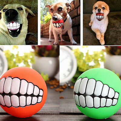 £4.90 • Buy Treat Ball Pet Dog Toy Smile With Teeth Grinding Chew Sound Funny Playi TPBC OR