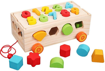 £18.13 • Buy Afufu Montessori Toys For 1 Year Old, Wooden Shape Sorting Pull Along Toy Shape