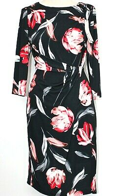 £15.99 • Buy NWT Roman Dress Side Detail Draped Wrap Style Black Red Floral Lined 12 RRP £40