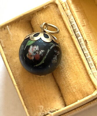 £29 • Buy Antique Edwardian 9ct Gold Hand Painted Bead/ball Pendant/charm