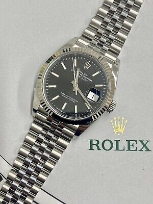 £6850 • Buy Rolex Datejust 36 Black Dial – Box & Papers 2021
