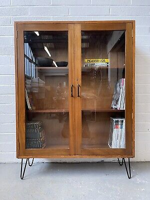 £250 • Buy Antique Teak Glass Fronted Display Cabinet. Book Shelf. Hairpin Legs