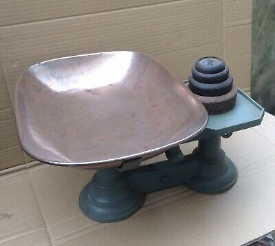 £45 • Buy Antique Kitchen Balance Scales C1900 Cast And Wrought Iron With Copper Pan