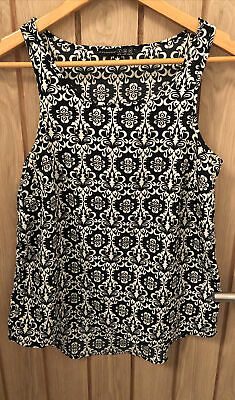 £1.10 • Buy Ladies Primark Black & White Geometric Print Camisole Top Size 8