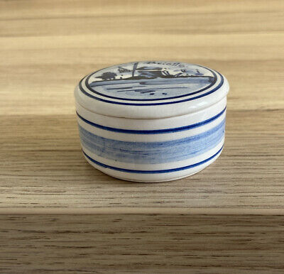 £8.95 • Buy Vintage Delft Windmill Trinket Box Holland Blue White Hand Painted With Lid