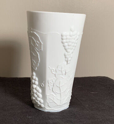 """$9 • Buy Vintage 6""""Tall Milk Glass Indiana Colony Harvest Cup Tumbler Grape & Leaf White"""