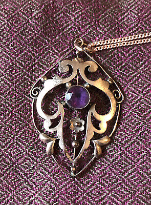 £90 • Buy 9ct Rose Gold Edwardian Art Nouveau Pendant With Purple Stone And Gold Chain
