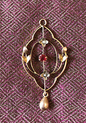 £137 • Buy 9ct Gold Edwardian Art Nouveau Pendant