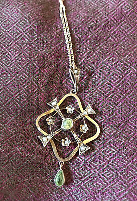 £175 • Buy 9ct Gold Edwardian Art Nouveau Pendant And 14ct Gold Chain