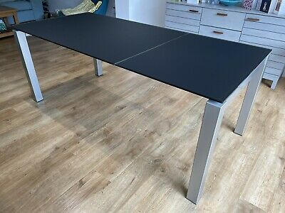 £400 • Buy Calligaris Airport One Extendable Black Acid Etched Glass Dining Table