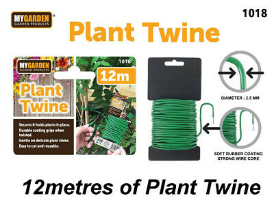 £3.75 • Buy 12m Plant Twine Green Soft Flexible Bendy Garden Support Wire Cable Twist Tie
