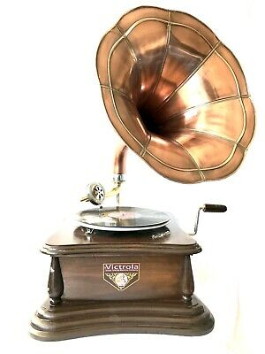 £89.95 • Buy Gramophone With Copper Horn ~ Record Player - 78 Rpm Vinyl Phonograph Victoria