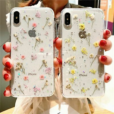 AU9.40 • Buy Phone Case Real Dry Flower Glitter For IPhone 8 7 Plus 6 6s Transparent Cover