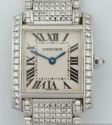 $ CDN139.72 • Buy Genuine 18k White Gold Diamond Cartier Tank Francaise Ladies Watch