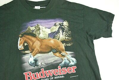 $ CDN42.50 • Buy Vintage 90s Budweiser Beer Clydesdale Drinking Party T Shirt Promo Mens XL Black