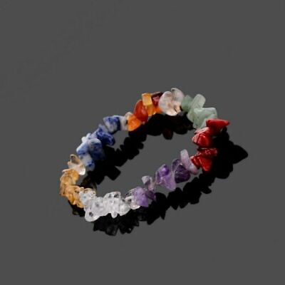 AU1.18 • Buy Stretch 7 Chakra Chipped Raw Natural Stone Yoga Healing Quartz Crystal Bracelet