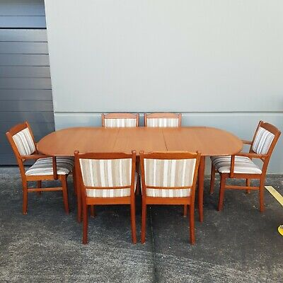 AU700 • Buy 6 Seater Teak Dining Suite, Retro, Mid-Century Modern, Butterfly Extension.