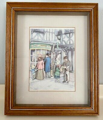 £18.95 • Buy Lovely Wooden Framed 3D Decoupage Picture Of Shoemakers Shop Front