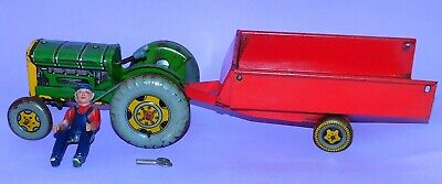 £35 • Buy * Barn Find * Mettoy Playthings * Tinplate / Clockwork Tractor With Trailer *