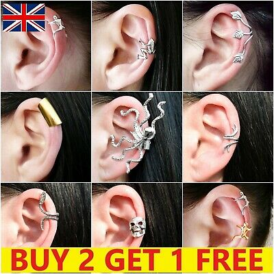 £2.39 • Buy Clip On Ear Cuff Fake Earring Non Pierced Ring Wrap Sterling Silver Gold Set New