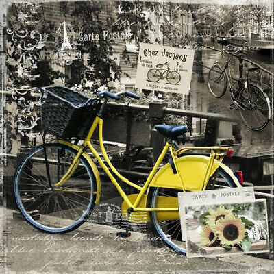 £4.50 • Buy Paper Napkins (Packet X 20) Vintage French Yellow Bicycle Party Craft Decoupage