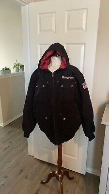 $ CDN55.66 • Buy Snap On Tools Mens Black Winter Coat Hooded Jacket Black Embroidered Size Lg