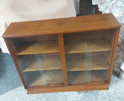 £55 • Buy Vintage Glass Fronted, Double Sided Glass Door Book Case