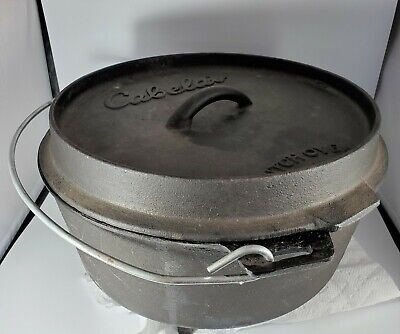 $ CDN51.92 • Buy Vintage Cabela's #10 Cast Iron Footed Dutch Oven And Lid - Used