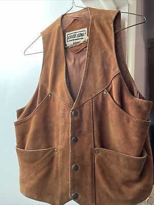 $29.99 • Buy VTG 80s Chess King Warm Brown Suede Leather Vest Moto Western Cowboy Size M