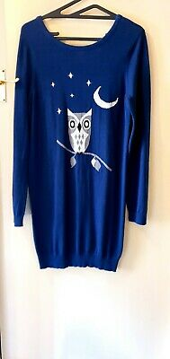 £13.99 • Buy Sugarhill Boutique Cute Owl Over Sized Jumper BOHO Size XL 14 Navy/Multi