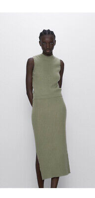 £45 • Buy Zara Textured Cable Knit Top & Skirt Green Size M BNWT