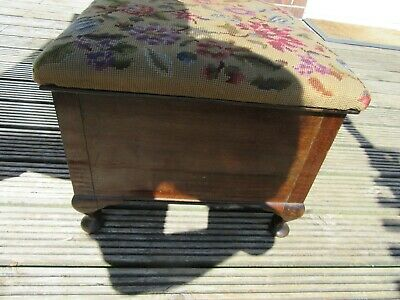 £49.99 • Buy Vintage Wooden Sewing Box Stool With Tapestry Lid And Contents Threads Cottons