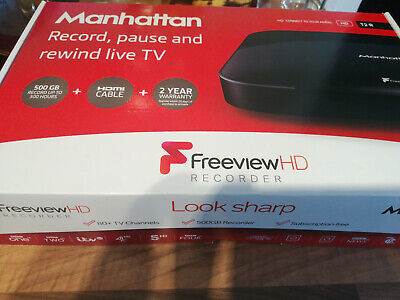 £75 • Buy Manhattan T2-R Freeview HD Recorder, 500GB Capacity, And Black In Colour