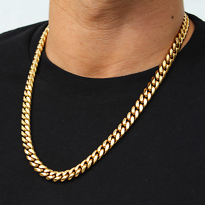 $37.99 • Buy Mens Miami Cuban Link Chain 18K Gold Plated Stainless Steel Necklace 11mm