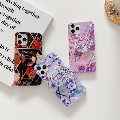 AU9.07 • Buy Geometric Flower Marble Soft Phone Case With Holder For IPhone 8Plus 11 XR X 7