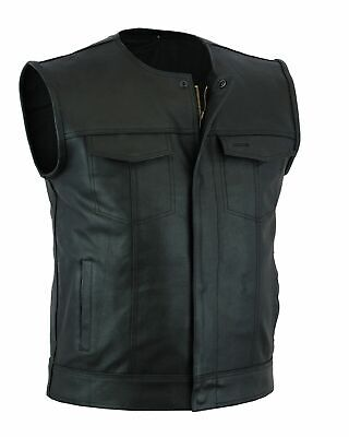 $59.99 • Buy Mens Motorcycle Leather Club Vest Solid Black Concealed Carry Pockets
