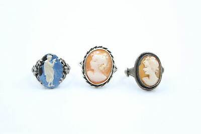 £0.99 • Buy 3 X Vintage .800 .925 Silver CAMEO RINGS Inc. TLM, Shell Cameo (8g)